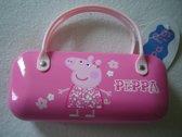 Roze brillenkoker van Peppa Big, bloemetjes