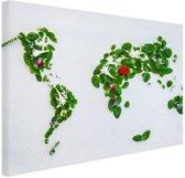 Wereldkaart met bladeren en bloemen Canvas 60x40 cm - Foto print op Canvas schilderij (Wanddecoratie)