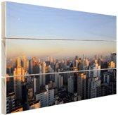 Sao Paulo in ochtendlicht Hout 80x60 cm - Foto print op Hout (Wanddecoratie)