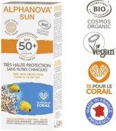 ALPHANOVA SUN BIO SPF 50+ Getinte zonnebrandcreme voor allergische gevoelige huid - waterproof