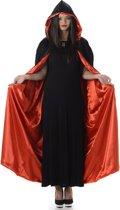 Rood en zwarte Halloween cape met capuchon   Halloween   Unisex   One-size    Volwassenen   Verkleedattribuut