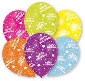 Ballonnen 'Happy Birthday' sterretjes - Multicolor - 6 stuks