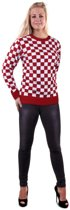 Brabant & Oeteldonk Kostuum   Gebreide Sweater Rood Wit Geblokt Brabant   Small   Carnaval kostuum   Verkleedkleding