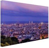 Barcelona skyline bij schemering Canvas 180x120 cm - Foto print op Canvas schilderij (Wanddecoratie woonkamer / slaapkamer) / Steden Canvas Schilderijen XXL / Groot formaat!