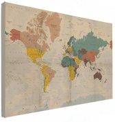 Historische Wereldkaart op Canvas Vintage groot 120x80 cm | Wereldkaart Canvas Schilderij
