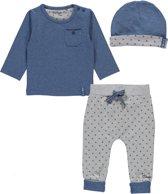 Dirkje Basics Jongens Set (3delig) Shirt Blauw en broek Grijs  met Mutsje - Maat 56