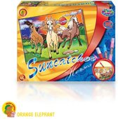 Orange Elephant Suncatcher Met Raamstickerverf: Paarden