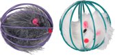 Flamingo Kattenspeelgoed Speelbal en Bontmuis - Multicolour -