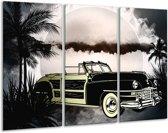 Schilderij   Canvas Schilderij Oldtimer, Auto   Grijs, Zwart   120x80cm 3Luik   Foto print op Canvas