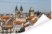 Bovenaanzicht van het Oude Stadsplein in Praag Poster 90x60 cm - Foto print op Poster (wanddecoratie woonkamer / slaapkamer)