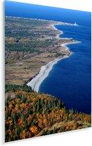 Luchtfoto van het Nationaal park Forillon in Quebec Plexiglas 120x180 cm - Foto print op Glas (Plexiglas wanddecoratie) XXL / Groot formaat!