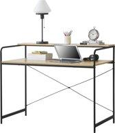 [en.casa] Bureau met 1 plank Dokkum zwart en hout
