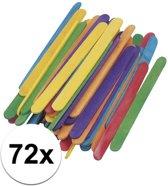 Gekleurde knutselhoutjes 72 stuks