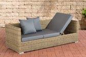Clp Poly-rotan Wicker loungebank / zonnebank SOLANO, 3 personen, aluminium frame, kussens - kleur van rotan natuur kleur van kussen: ijzerachtig grijs