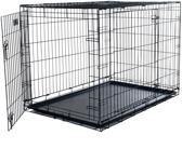 Topmast Hondenbench - Bench  Top kwaliteit - Zwart - 107 x 71 x 77 cm 2 deuren.  Gratis Vetbed