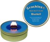 4 stuks Cracklez® Knetterende Houten Lont Geurkaarsen in blik Katoen Bloem. Blauw.