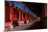 Mooie rode architectuur in de Confuciustempel van Qūfù in China Aluminium 90x60 cm - Foto print op Aluminium (metaal wanddecoratie)