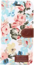 Mobigear Katoen Wallet Hoesje Bloemen Wit Apple iPhone Xr