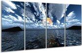 Glasschilderij Zee | Blauw, Wit, Grijs | 160x80cm 4Luik | Foto print op Glas |  F000277