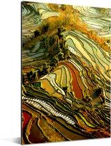 Prachtig kleurenpalet van rijstvelden in China Aluminium 120x180 cm - Foto print op Aluminium (metaal wanddecoratie) XXL / Groot formaat!