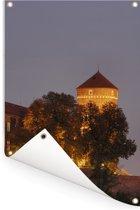 Kasteel van Wawel in Polen tijdens de nacht Tuinposter 80x120 cm - Tuindoek / Buitencanvas / Schilderijen voor buiten (tuin decoratie)