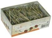 Cosy&Trendy Bamboeprikker met knoopje set-250 - 9 cm