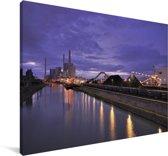Paarse lucht boven de Duitse stad Mannheim Canvas 90x60 cm - Foto print op Canvas schilderij (Wanddecoratie woonkamer / slaapkamer) / Europese steden Canvas Schilderijen