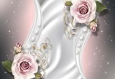 Fotobehang Flowers Rosen Pattern Spheres Abstract   M - 104cm x 70.5cm   130g/m2 Vlies