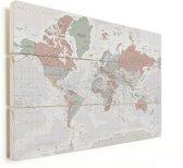 Wereldkaart Vintage op Vurenhout Pastel klein 40x30 cm | Wereldkaart Hout