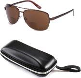 Zonnebril op sterkte +1.5 bifocaal - Aviator Pilotenbril semi randloos