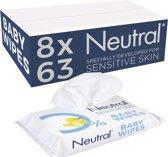 Neutral 0% Parfumvrij - 8 x 63 stuks - Billendoekjes