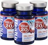 Vital20 Krill Olie Omega-3 Extra Strong Voordeelverpakking - Natuurlijk beter opneembare Omega-3 (180 softgels)