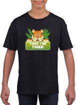 Tony the tiger t-shirt zwart voor kinderen - unisex - tijger shirt XS (110-116)