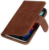 Samsung Galaxy S5 Hoesje Hout Bookstyle Bruin