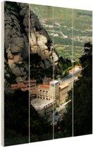Montserrat klooster tussen bergen Hout 60x80 cm - Foto print op Hout (Wanddecoratie)