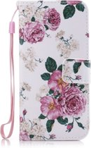 Apple iPhone 6 & 6S Wallet Book Flip Case PU leer Bloem cover - Roze Bloemen hoesje