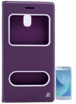Teleplus Samsung J3 Pro Galaxy Dual Window Case Purple + Glass Screen Protector hoesje