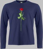 Longsleeve M Valentijnsdag met een rode roos van liefde op je shirt - Darknavy - M - XXXL Sportshirt
