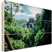 Jungle ruïne in Palenque Mexico Vurenhout met planken 30x20 cm - klein - Foto print op Hout (Wanddecoratie)