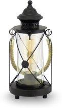EGLO Vintage Bradford - Tafellamp - 1 Lichts - Zwart - Helder Glas