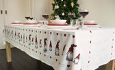 Tafelkleed Katoen - 145x240cm Kerst Nissar Bard - Wit