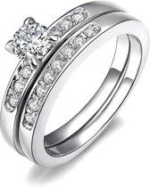 Fate Jewellery Ring FJ157 - Deluxe Ring - 17mm - Zilver met Zirkonia kristallen
