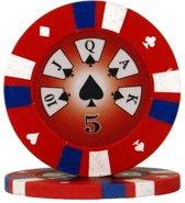 Pokerchip 3-Color Clay 13,5 Gram Rood 5 per 25