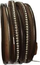Leren wikkelarmband bruin met magneetsluiting