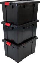 IRIS Powerbox Opbergbox - 68L - Kunststof - Zwart/Rood - 2 Stuks