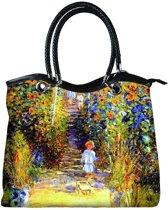 """Handtas Vogue. Combi stof, polyester met nepleder handvatten """"Jardin à Vetheuil"""" Van Claude Monet"""