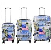 3 delig travelsuitcase kofferset polycarbonaat - New York3 -