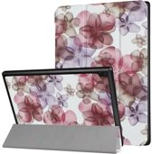 Lenovo Tab 4 10 - Tri-Fold Book Case Flowers
