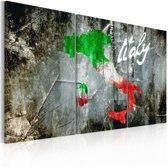 Schilderij - Artistieke kaart van Italië, Multi-gekleurd, 2 Maten, 3luik