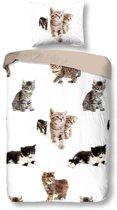 Snoozing Kittens - Flanel - Dekbedovertrek - Eenpersoons - 140x200/220 cm + 1 kussensloop 60x70 cm - Multi kleur